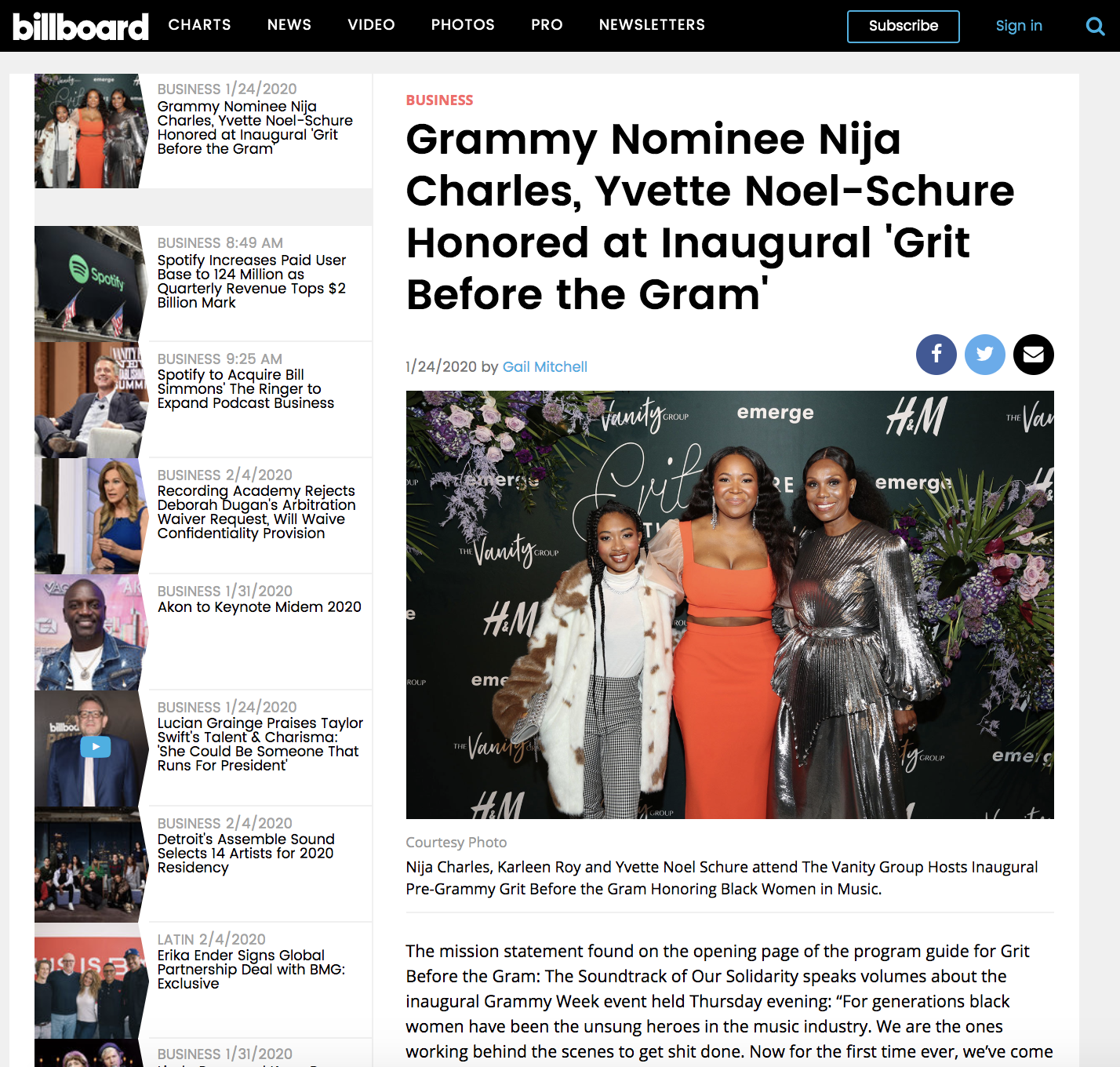 Grammy Nominee Nija Charles, Yvette Noel-Schure Honored at Inaugural 'Grit Before the Gram'